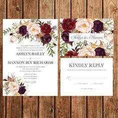 Bohemian Wedding Invitation, Fall Wedding Invite, Red, Purple, Plum, Feathers, Floral, Fall, Woodland, Rustic, Vintage, Printable