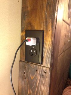 DIY Rustic Headboard with Mason Jar Lights AND electric outlets on each side!