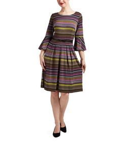 Loving this Violet Stripe Bell-Sleeve Belted Fit & Flare Dress on #zulily! #zulilyfinds