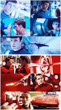 Star Trek - the top collage in blue is the 2013 movie - Star Trek Into Darkness - a remake of sorts of Star Trek the Wrath of Khan. The bottom red collage is the first reboot from 2009 - it tells the story of how the crew came together and, in this alternate reality, we watched the Planet of Vulcan being destroyed.
