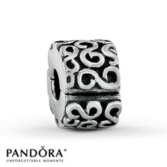 """This Pandora fashion jewelry clip projects elegance with a stylish """"S"""" pattern depicted in sterling silver. Style # 790338.  had 2 of these"""