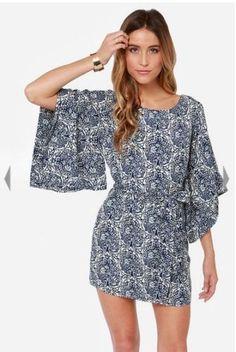 Ark-Co-Lulus-Kimono-My-Blue-Print-Dress-Size-S