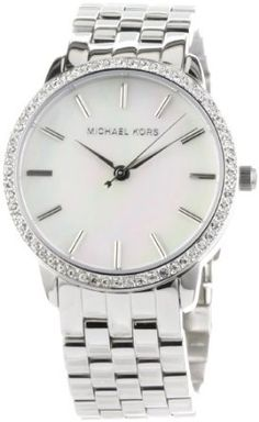 Michael Kors Women's MK3118 5-Link Round Mother-Of-Pearl Glitz Watch