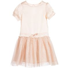 Stella McCartney Kids Pink Satin & Tulle 'Viva' Dress at Childrensalon.com