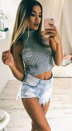 #summer #showpo #label #outfits | Grey Knit + Denim