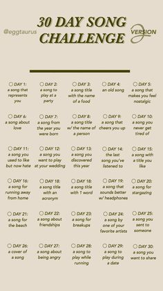 30 day song challenge part 2 30 Day Instagram Challenge, 30 Day Music Challenge, Writing Challenge, Challenge Games, Instagram Story Questions, Instagram Story Ideas, Snapchat Questions, Music Bingo, 30 Tag