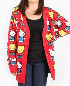 #HelloKitty and #BartSimpson on a big red cardigan!!!