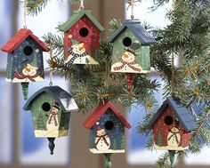 Country Birdhouses W/ Snowmen Christmas Ornaments