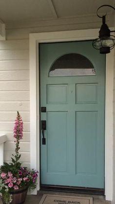 Benjamin Moore Revere Pewter, White Dove, Grenada Villa- love this front door color Green Exterior Paints, House Paint Exterior, Exterior Paint Colors, Exterior House Colors, Paint Colors For Home, Exterior Doors, Paint Colours, Exterior Design, Garage Door Colors