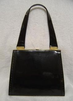 "STUNNING VINTAGE 1950s MID CENTURY MAD MEN STYLE DESIGNER ""JANE SHILTON ENGLAND"" BLACK PATENT LEATHER KELLY BAG PURSE HANDBAG!"