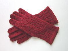 Red merino wool gloves