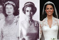The tiara Kate wore to her wedding has been worn by the Queen Mother and Princess Anne.