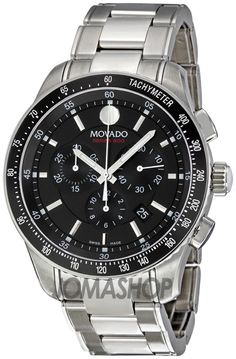 Movado 800 Black Dial Performance Steel Chronograph Mens Watch 2600094
