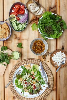 Middle Eastern Taco Salad with Roasted Chickpeas, Tangy Avocado Dressing | Simple Bites #salad #recipe
