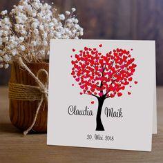 Einladungskarte Hochzeit Herzbaum rot
