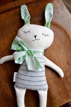 Green and Grey Bunny softie plush soft toy by dewberryworkshop, $45.00