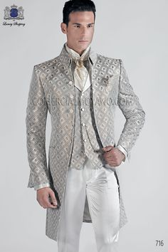 Italian bespoke gray/gold-tone brocade Korean Frock Coat with Mao collar; coodinated with white satin trousers, style 716 Ottavio Nuccio Gala, 2015 Baroque collection.