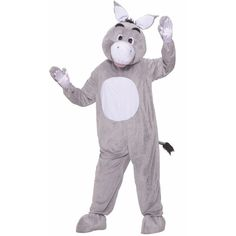Donkey Plush Adult Costume ($60) ❤ liked on Polyvore featuring costumes, halloween costumes, adult ladies halloween costumes, party costumes, shrek dragon costume, womens halloween costumes and ladies costumes