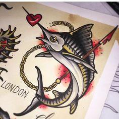 Swordfish Marlin Tattoo Traditional piece