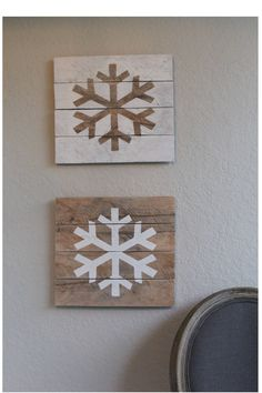 Set of 2 Rustic Wood Snowflake Signs, Reclaimed Wood Sign, Holiday Decor, Christmas Decor, Winter Signs, Snowflake by ClassicCoastalIndust on Etsy https://www.etsy.com/listing/545983250/set-of-2-rustic-wood-snowflake-signs