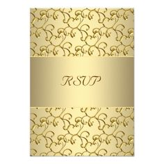 50th Wedding Anniversary Party Gold Swirls Gold 50th Wedding Anniversary RSVP Card