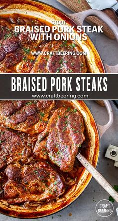 Ultra tender, slow cooked pork steak, braised with onions and stout. Braised Steak, Braised Pork Shoulder, Steak And Onions, Steak Dishes, Baked Ribs, Slow Cooked Pork, Cooking With Beer, Pork Chop Recipes, Pork Chops