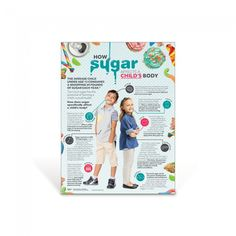 "Discover the effects of sugar consumption from head to toe with the How Sugar Affects A Child's Body Poster. This colorful poster highlights sugar's role in various organs and body systems including the brain, teeth, taste buds, stomach, skin, and more.   18"" x 24"" Laminated"