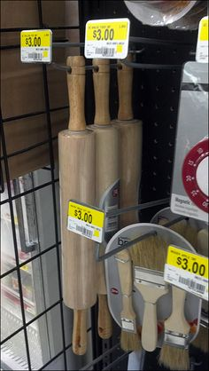 An unconventional cross sell, pastry rolling pin and baking accessories on a Power Wing at the entrance to an aisle… Rolling Pins, Baking Accessories, Knife Block, Frozen, Rolls, Retail, Buns, Bread Rolls, Sleeve