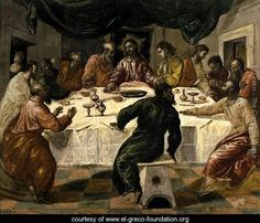 El Greco The Last Supper, , Pinacoteca Nazionale, Bologna. Read more about the symbolism and interpretation of The Last Supper by El Greco. Spanish Painters, Spanish Artists, Renaissance Kunst, Les Religions, Last Supper, Oil Painting Reproductions, Religious Art, Famous Artists, Art History