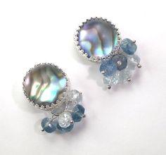 Abalone Post Earrings Sterling Silver Fancy Stud Earrings Abalone Doublet Gemstone Cluster Stud Earrings - Ivy