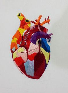 Coração IV - the big one! Embroidery on canvas Anatomy Art, Human Anatomy, Anatomical Heart, Heart Images, Fox Art, Valentine Day Love, Heart Art, Sacred Heart, Textile Art