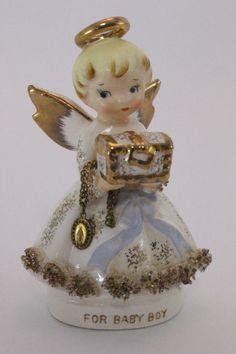 Vintage Lefton Angel Figurine Blonde Gold Halo Holding Box For Baby Boy #333