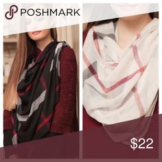 🎄Holiday Plaid Scarves🎄 Your choice between White or Black! Infinity Raine Accessories Scarves & Wraps