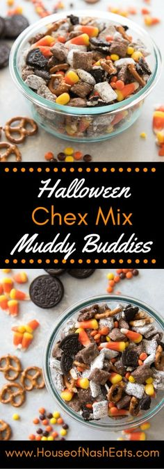 This Halloween Chex Mix Muddy Buddies (aka Puppy Chow) recipe is chock-full of O. - This Halloween Chex Mix Muddy Buddies (aka Puppy Chow) recipe is chock-full of O. Halloween Snacks, Muffins Halloween, Dulces Halloween, Bonbon Halloween, Postres Halloween, Dessert Halloween, Fall Snacks, Halloween Cupcakes, Halloween Candy