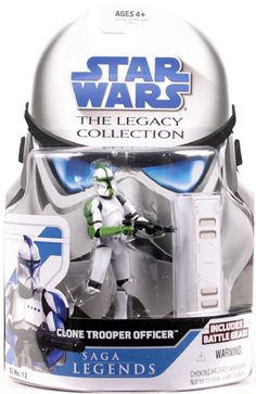 2008 Legacy Collection Saga Legends Carded Clone Trooper Officer (Green)