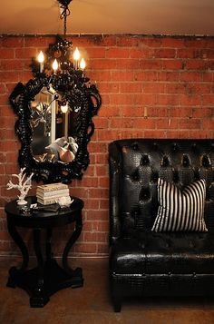 love the black against the brick.  #home #decor