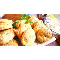 Cheese and Chives Scones with Mackerel Pate and Onion Marmalade Cheese And Chive Scones, Marmalade, Onion, Chicken, Meat, Kitchen, Food, Cooking, Essen