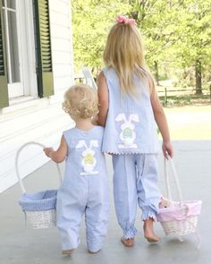 Appliqued Easter outfits for the egg hunt. Cool Baby, Little People, Little Ones, Little Girls, Outfits Niños, Kids Outfits, Sewing For Kids, Baby Sewing, Easter Parade