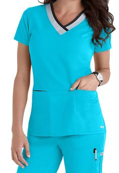 Greys Anatomy color block contrast 3 pocket scrubs top. Main Image