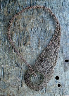 Copper wire crocheted necklace collar Trinity by Ksemi