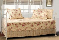 Daybed Shabby Antique Tea Roses Chic 5 Piece Quilt Set #Cottage