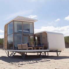 Strandweelde strandhuisjes, holiday home, coast Holland Holland Cities, Visit Holland, Building A Container Home, Container House Plans, Container Homes, Cottage Design, House Design, Holland Beach, Pole House