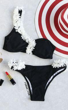 Contrast Flower Embellished One Shoulder Bikini Set