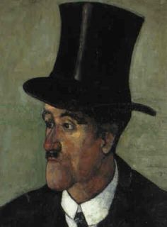 Felix Nussbaum -  Portrait of a man wearing a top hat, 1920