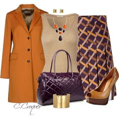 Camel Coat by ccroquer on Polyvore featuring мода, American Vintage, Alberto Biani, Salvatore Ferragamo, Fendi, Beach Collection and…