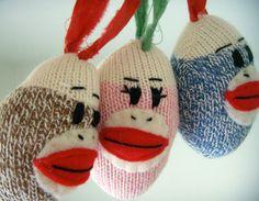 These are adorable!!! Sock Monkey Ornament  Christmas Ornament Sock Monkey by heidibg, $8.00