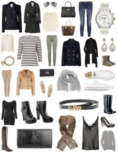 wardrobe basics- Like some of the items here but the idea is to build it off your own fashion taste