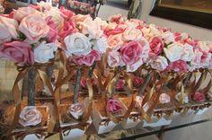 rosa decoração de casamento centro de mesa.03