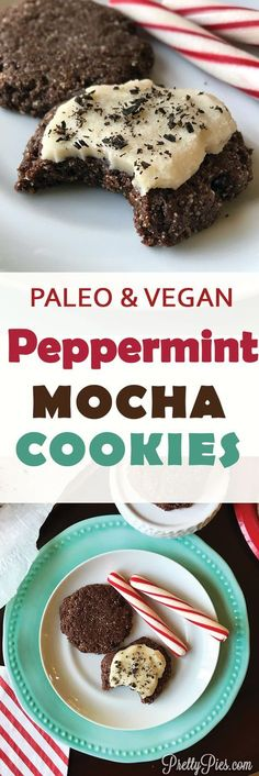 """Crisp & chewy chocolate cookies loaded with espresso and peppermint flavors, and creamy """"buttercream""""-- without flour, butter, refined sugar or eggs! Peppermint Mocha Cookies! Perfect for a Christmas cookie exchange. #vegan #paleo #healthydesserts"""