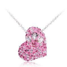 Collar corazón rosa hecho con SWAROVSKI ELEMENTS por charms925, €15.00